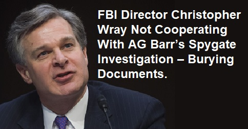 FBI Director Christopher Wray Not Cooperating With AG Barr's Spygate Investigation – Burying Documents – FBI – Federal Bureau of Investigation